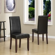 Simpli Home Acadian Faux Leather Parson Dining Chair in Midnight Black (WS5113-4-BL)