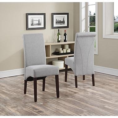 Simpli Home Avalon Linen Look Parson Dining Chair in Dove Grey (WS5134-DGL)