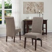 Simpli Home Avalon Linen Look Parson Dining Chair in Light Mocha (WS5134-LML), 2/Set
