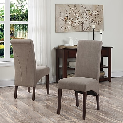Simpli Home Avalon Linen Look Parson Dining Chair in Light Mocha (WS5134-LML)