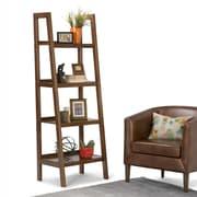 "Simpli Home Sawhorse 72""H Ladder Shelf in Medium Saddle Brown (3AXCSAW-05)"