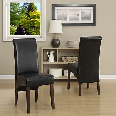 Simpli Home Avalon Faux Leather Parson Dining Chair in Midnight Black (WS5134-BL), 2/Set