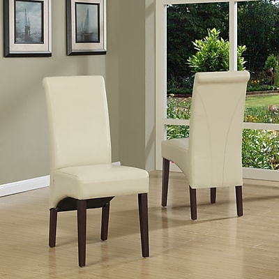 Simpli Home Avalon Faux Leather Parson Dining Chair in Satin Cream (WS5134-CR), 2/Set