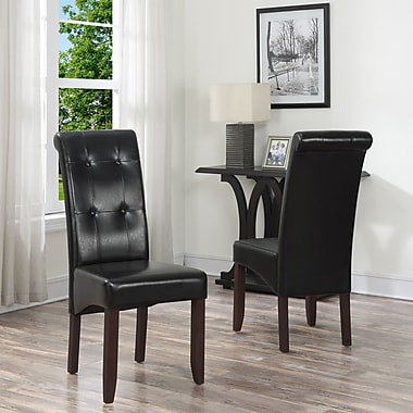 Simpli Home Cosmopolitan Black Faux Leather Parson Dining Chair in Midnight (WS5109-4-BL)