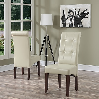 Simpli Home Cosmopolitan Faux Leather Parson Dining Chair in Satin Cream (WS5109-4-CR), 2/Set