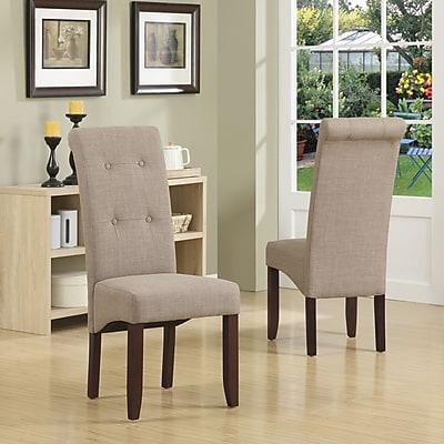 Simpli Home Cosmopolitan Linen Look Parson Dining Chair in Light Mocha (WS5109-4-LML), 2/Set