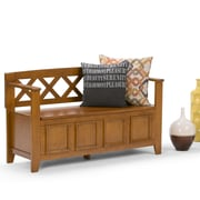 Simpli Home Amherst Entryway Bench in Light Avalon Brown (AXCAB-BNCH-ALB)