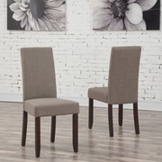 Simpli Home Acadian Linen Look Fabric Parson Dining Chair in Light Mocha (WS5113-4-LML), 2/Set