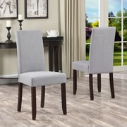 Simpli Home Acadian Linen Look Fabric Parson Dining Chair in Dove Grey (WS5113-4-DGL), 2/Set