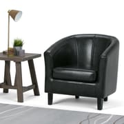 Simpli Home Austin Faux Leather Tub Chair in Black (AXCTUB-002)