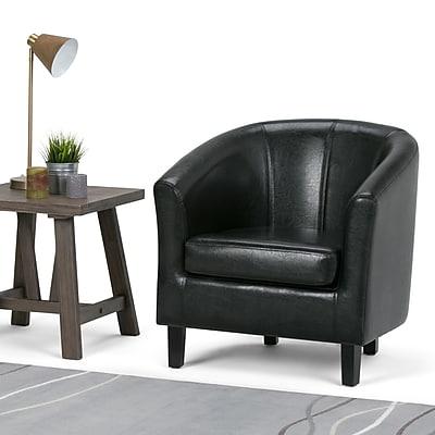 Simpli Home Austin Faux Leather Tub Chair in Black (AXCTUB-002)