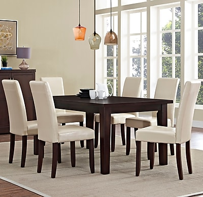 Simpli Home Acadian 7 Piece Dining Set in Satin Cream Faux Leather (AXCDS7-ACA-CR)