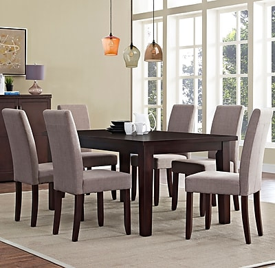 Simpli Home Acadian 7 Piece Dining Set in Light Mocha Linen Look Fabric (AXCDS7-ACA-LML)
