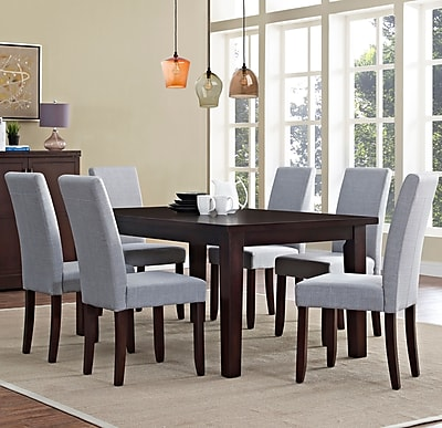 Simpli Home Acadian 7 Piece Dining Set in Dove Grey Linen Look Fabric (AXCDS7-ACA-DGL)