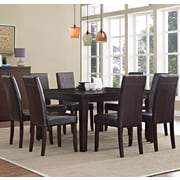 Simpli Home Acadian 9 Piece Dining Set in Tanners Brown Faux Leather (AXCDS9-ACA-BR)