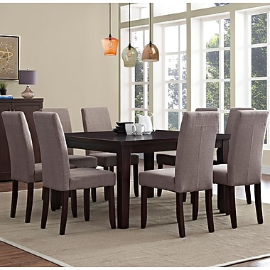Simpli Home Acadian 9 Piece Dining Set in Light Mocha Linen Look Fabric (AXCDS9-ACA-LML)
