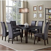 Simpli Home Avalon 7 Piece Dining Set in Tanners Brown Faux Leather (AXCDS7-AVL-BR)