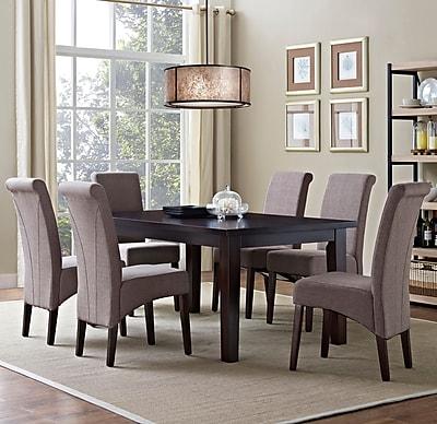 Simpli Home Avalon 7 Piece Dining Set in Light Mocha Linen Look Fabric (AXCDS7-AVL-LML)
