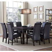 Simpli Home Avalon 9 Piece Dining Set in Tanner Brown Faux Leather (AXCDS9-AVL-BR)
