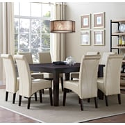 Simpli Home Avalon 9 Piece Dining Set in Satin Cream Faux Leather (AXCDS9-AVL-CR)