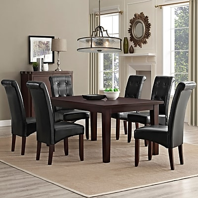 Simpli Home Cosmopolitan 7 Piece Dining Set in Midnight Black Faux Leather (AXCDS7-COS-BL)