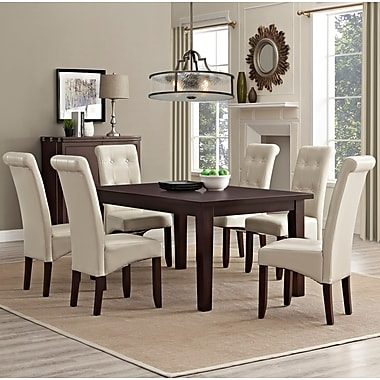 Simpli Home Cosmopolitan 7 Piece Dining Set in Satin Cream Faux Leather (AXCDS7-COS-CR)