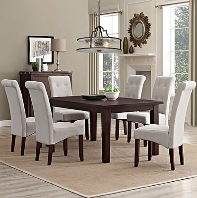 Simpli Home Cosmopolitan 7 Piece Dining Set in Natural Linen Look Fabric (AXCDS7-COS-NL)