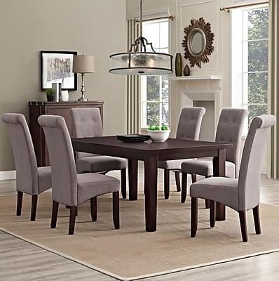 Simpli Home Cosmopolitan 7 Piece Dining Set in Light Mocha Linen Look Fabric (AXCDS7-COS-LML)
