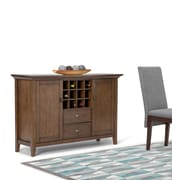 "Simpli Home Redmond 54""W Sideboard Buffet & Wine Rack in Rustic Natural Aged Brown (3AXCADM-08)"