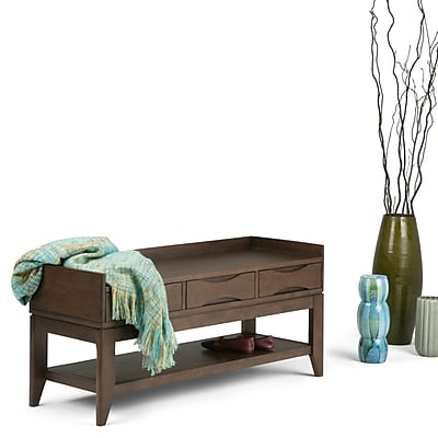 Simpli Home Harper Entry way Bench in Walnut Brown (3AXCHRP-09)