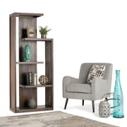 "Simpli Home Monroe 72""H Bookcase in Distressed Charcoal Brown (AXCMON-05)"