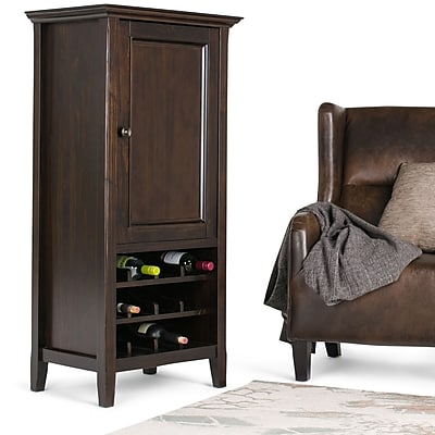 "Simpli Home Amherst 24""W x 17""D x 50""H Storage Wine Rack in Dark Brown (AXCAMH-006)"