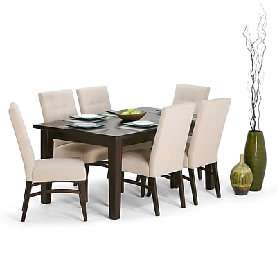 Simpli Home Ezra 7 Piece Dining Set in Natural Linen Look Fabric (AXCDS7EZ-NL)