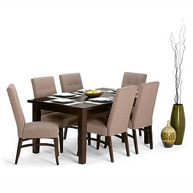 Simpli Home Ezra 7 Piece Dining Set in Fawn Brown Linen Look Fabric (AXCDS7EZ-BRL)