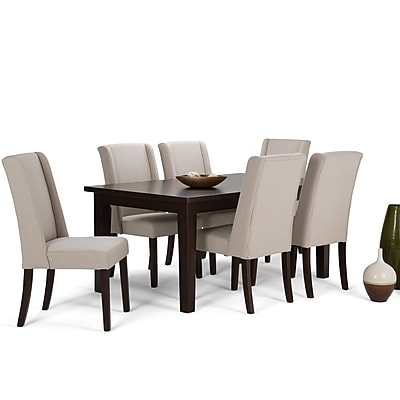 Simpli Home Sotherby 7 Piece Dining Set in Natural Linen Look Fabric (AXCDS7SB-NL)