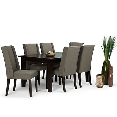 Simpli Home Sotherby 7 Piece Dining Set in Light Mocha Linen Look Fabric (AXCDS7SB-LML)