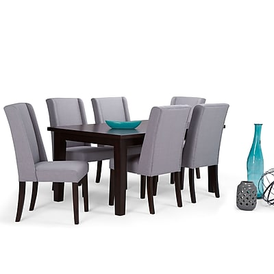 Simpli Home Sotherby 7 Piece Dining Set in Dove Grey Linen Look Fabric (AXCDS7SB-DGL)