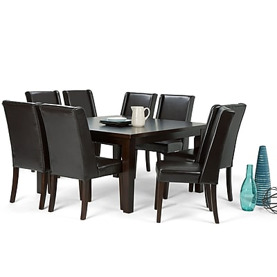 Simpli Home Sotherby 9 Piece Dining Set in Tanners Brown Faux Leather (AXCDS9SB-BR)