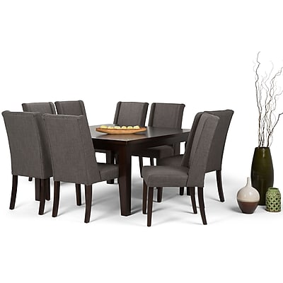 Simpli Home Sotherby 9 Piece Dining Set in Slate Grey Linen Look Fabric (AXCDS9SB-GL)