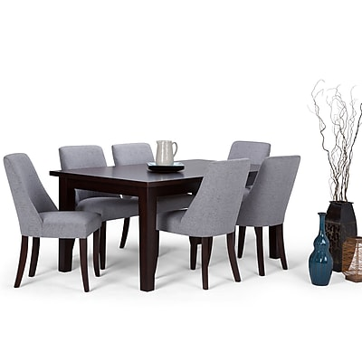 Simpli Home Walden 7 Piece Dining Set in Grey Linen Look Fabric (AXCDS7WA-G)
