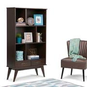 "Simpli Home Draper Mid Century 64""H Bookcase and Storage Unit in Medium Auburn Brown (3AXCDRP-13)"