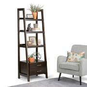 """Simpli Home Sawhorse 72""""H Ladder Shelf with Storage in Dark Chestnut Brown (3AXCSAW-06-BR)"""