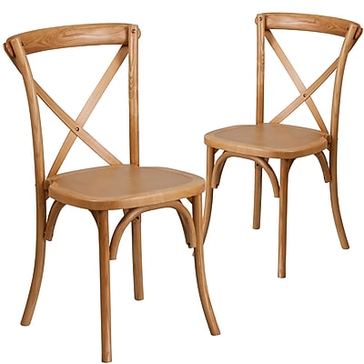 Flash Furniture Oak Cross Back Accent Chair Set of 2 (2XUXOAK)
