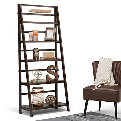 """Simpli Home Acadian 72""""H Bookcase in Tobacco Brown (AXWELL3-016)"""