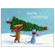 RSVP Critters Carrying A Christmas Tree Boxed Holiday Cards