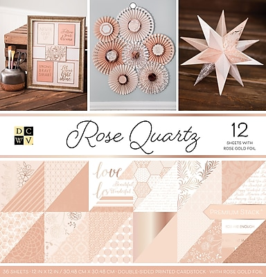American Crafts Rose Quartz, 12 W/Rose Gold Foil DCWV Double-Sided Paper Stack 12