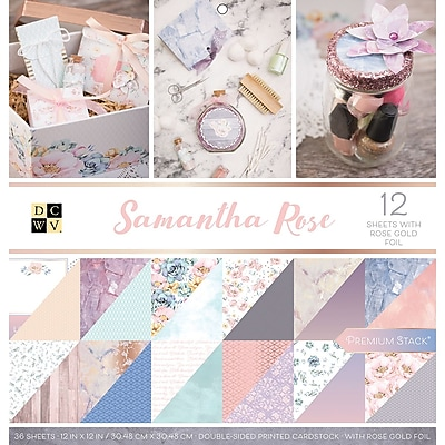 American Crafts Samantha Rose, 12 W/Rose Gold Foil DCWV Double-Sided Paper Stack 12