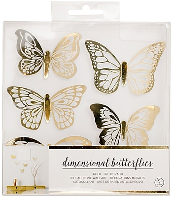American Crafts Gold Butterflies American Crafts Dimensional Self-Adhesive Wall Art, 5/Pkg (341117)
