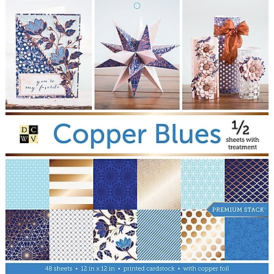 American Crafts Copper Blues, Half W/Foil DCWV Paper Stack, 12