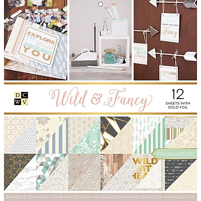 American Crafts Wild & Fancy, 12 W/Gold Foil DCWV Double-Sided Paper Stack 12